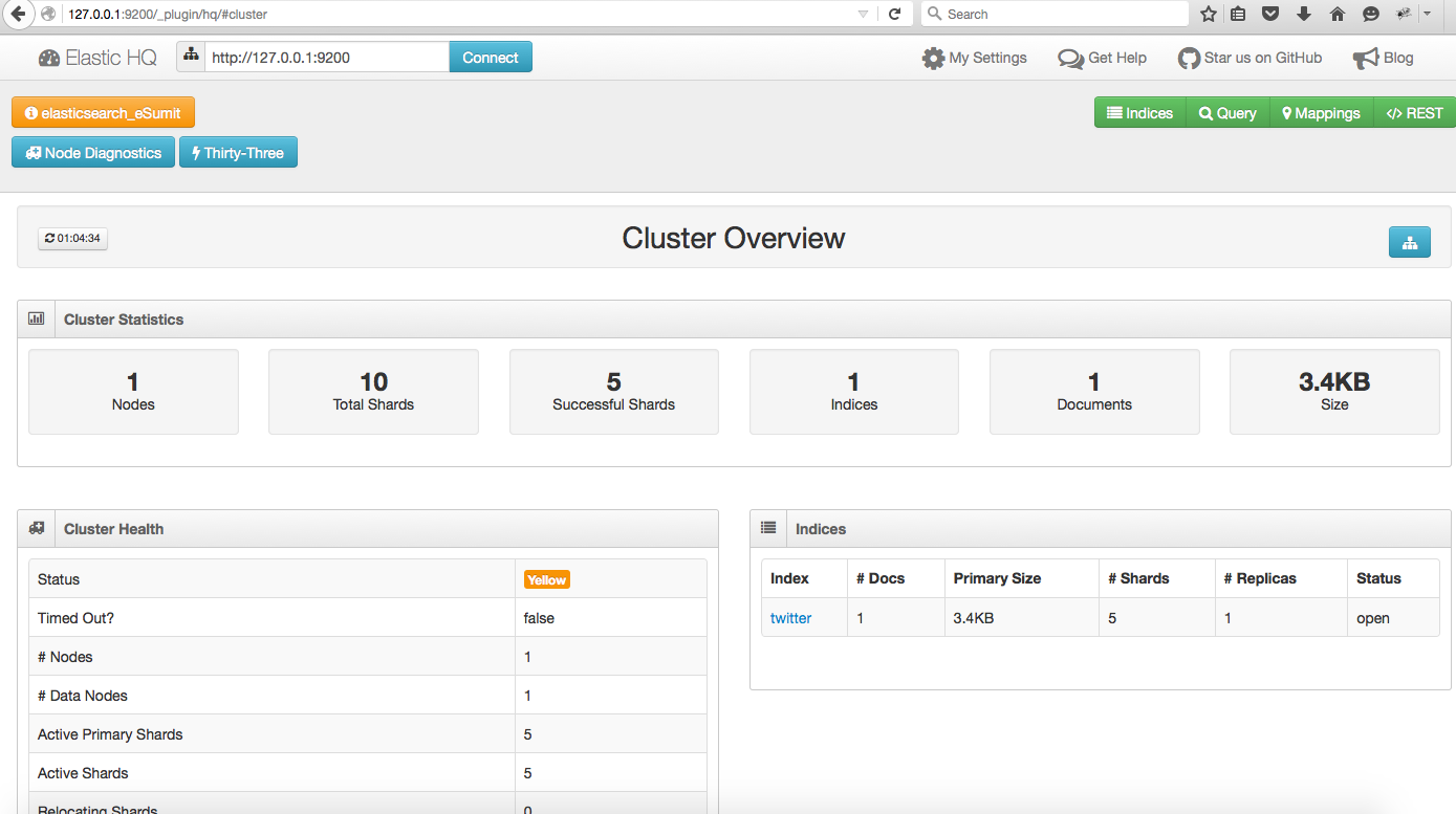Elastic Search HQ Plugin show Twitter Record