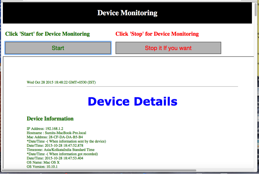 DeviceDetails of DeviceMonitoringTask